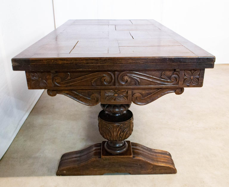 Oak Dining Table Basque Spanish Renaissance Revival Refectory Extends Midcentury In Good Condition For Sale In , South West France