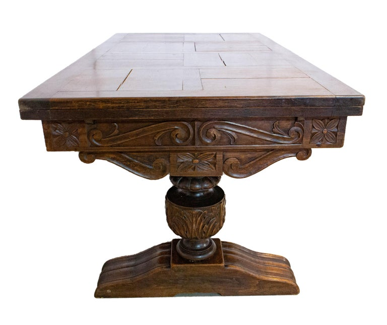 20th Century Oak Dining Table Basque Spanish Renaissance Revival Refectory Extends Midcentury For Sale