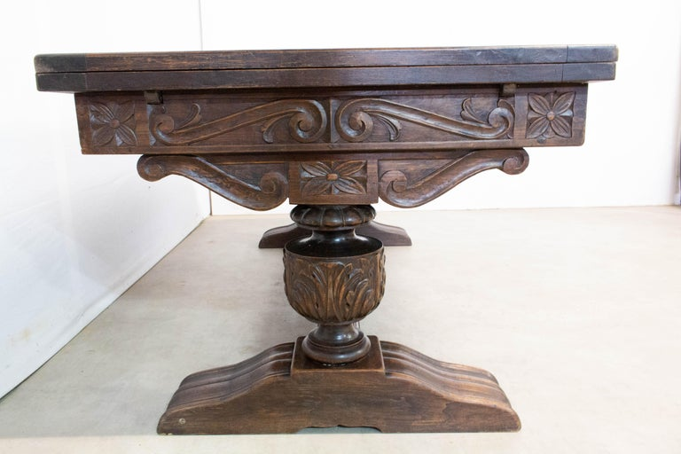 Oak Dining Table Basque Spanish Renaissance Revival Refectory Extends Midcentury For Sale 1