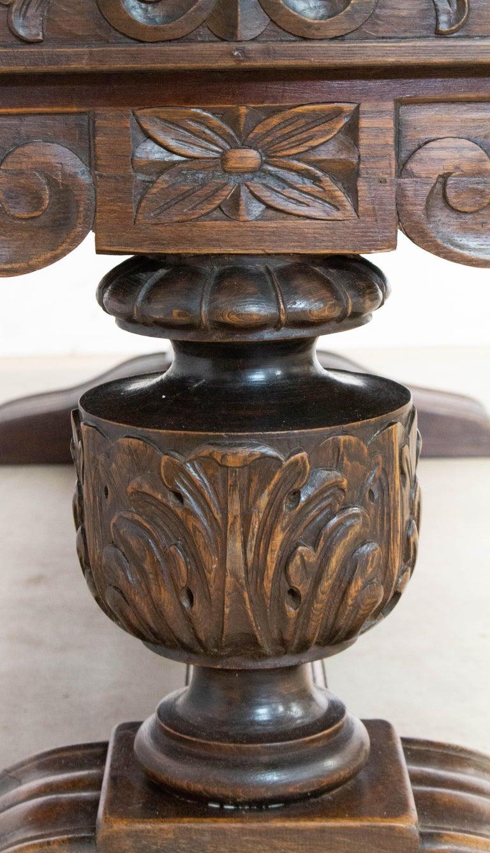 Oak Dining Table Basque Spanish Renaissance Revival Refectory Extends Midcentury For Sale 2
