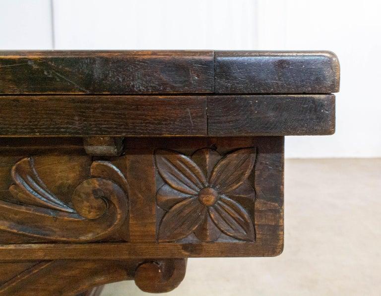 Oak Dining Table Basque Spanish Renaissance Revival Refectory Extends Midcentury For Sale 3