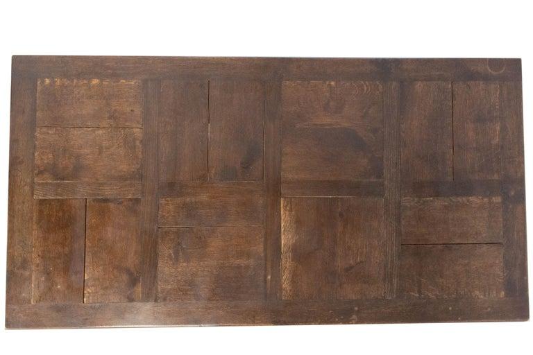 Oak Dining Table Basque Spanish Renaissance Revival Refectory Extends Midcentury For Sale 4