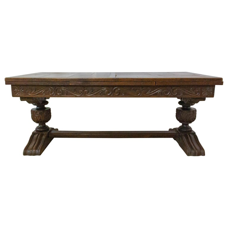 Oak Dining Table Basque Spanish Renaissance Revival Refectory Extends Midcentury For Sale