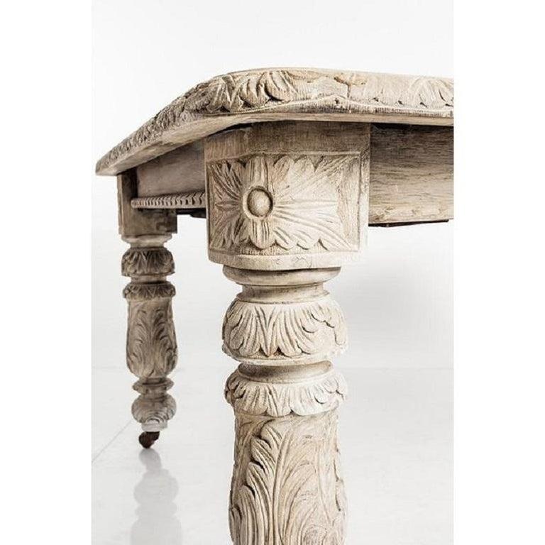 British Antique Jacobean Style Bleach Oak Dining Table For Sale