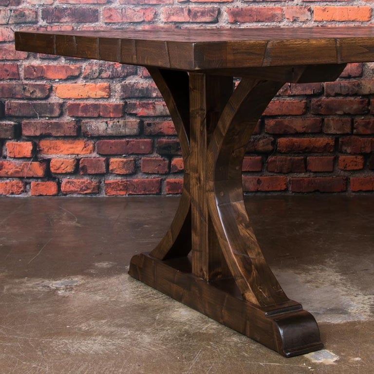American Oak Dining Table Made From Reclaimed Boxcar Flooring For Sale