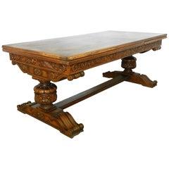 Oak Dining Table Renaissance Revival Refectory Extends Diamond Parquet Top
