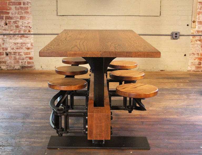 Oak Dining Table With Attached Swing Out Seats For Sale At 1stdibs