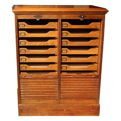 Oak Double Filing Cabinet with Shutters, 18 Drawers