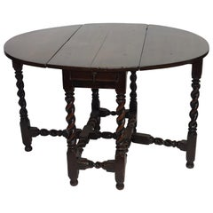 Oak Drop Leaf Table with Barley Twist Legs, English, 18th Century