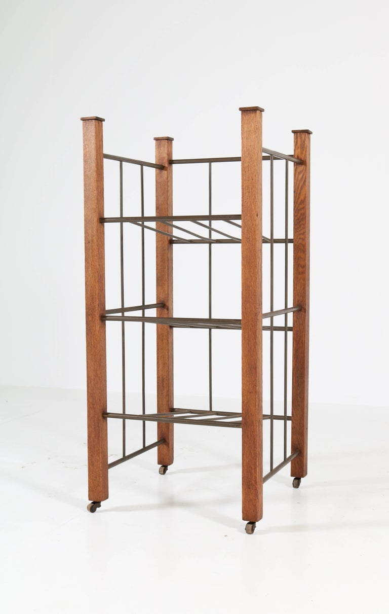 Early 20th Century Oak Dutch Art Deco Haagse School Magazine Stand, 1920s For Sale