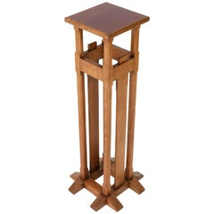 Oak Dutch Art Nouveau Arts & Crafts Pedestal in the Style of A. J. Kropholler