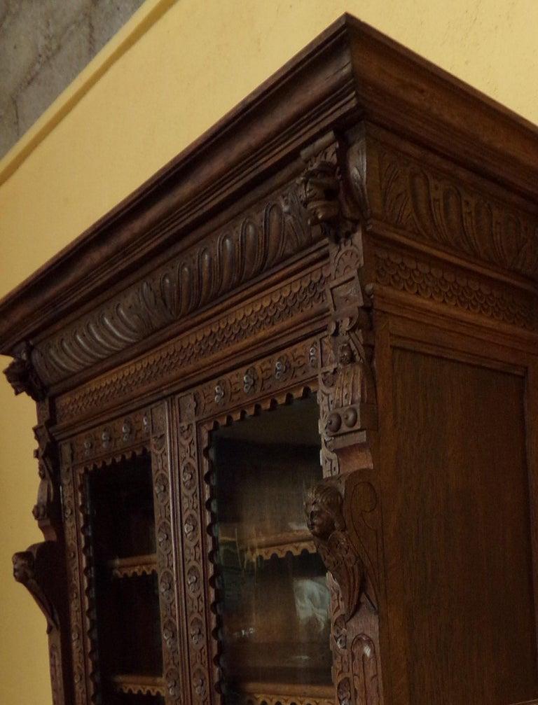 Regency Revival Oak Dutch hand Carved Bookcase For Sale