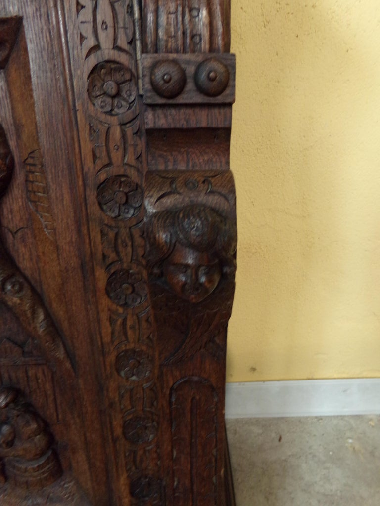 Oak Dutch hand Carved Bookcase For Sale 1