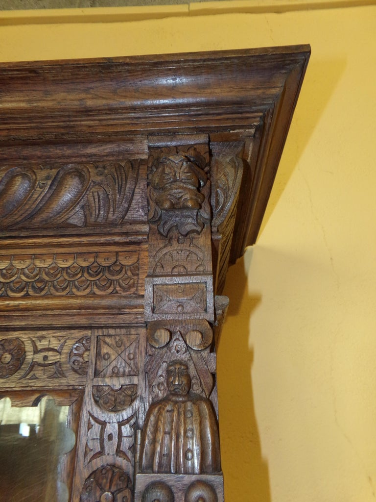 Oak Dutch hand Carved Bookcase For Sale 2