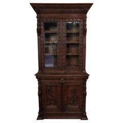 Oak Dutch hand Carved Bookcase