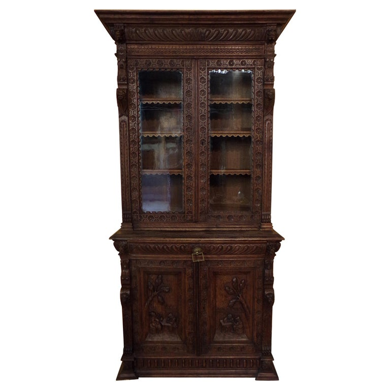 Oak Dutch hand Carved Bookcase For Sale