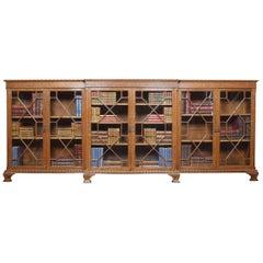 Oak Dwarf Breakfront Bookcase