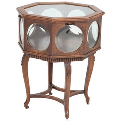 Oak Early 20th Century Tea Cabinet with Beveled Glass