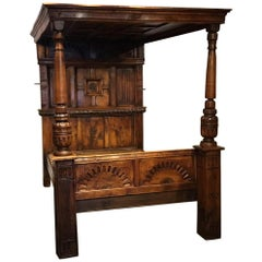 Oak Elizabethan Style Four-Poster Bed Made, circa 1900