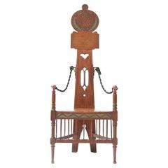 Oak English Arts & Crafts Art Nouveau High Back Armchair, 1900s