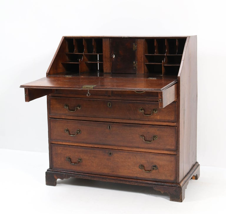 Brass Oak English George III Slant Front Desk, Late 18th Century For Sale