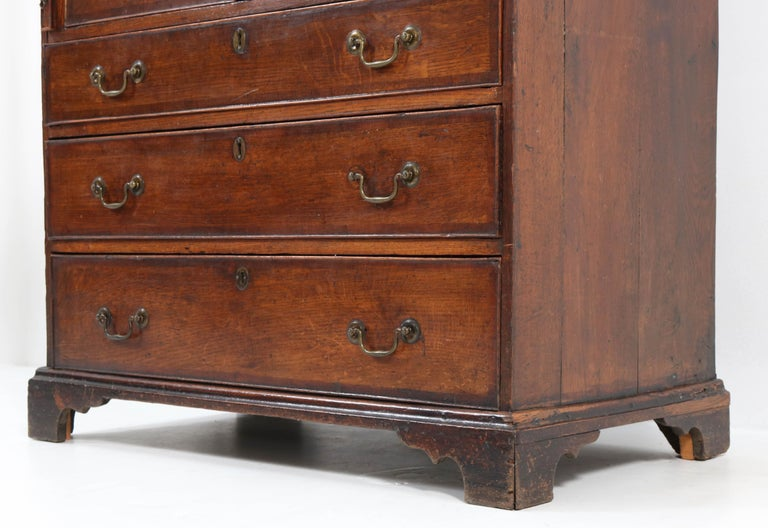 Oak English George III Slant Front Desk, Late 18th Century For Sale 4