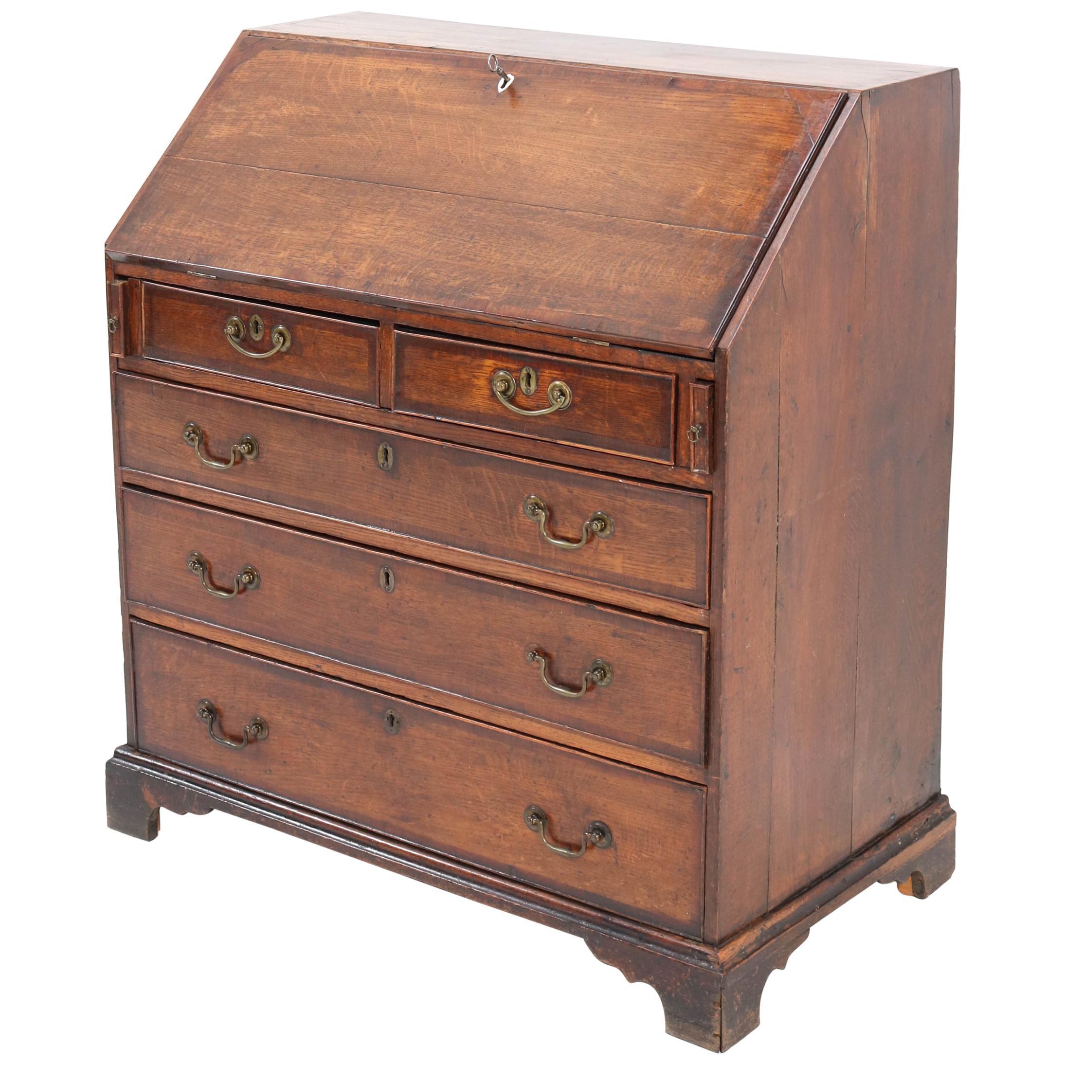 Oak English George III Slant Front Desk, Late 18th Century