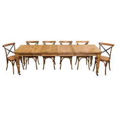 Oak Extending Farmhouse Table, 20th Century