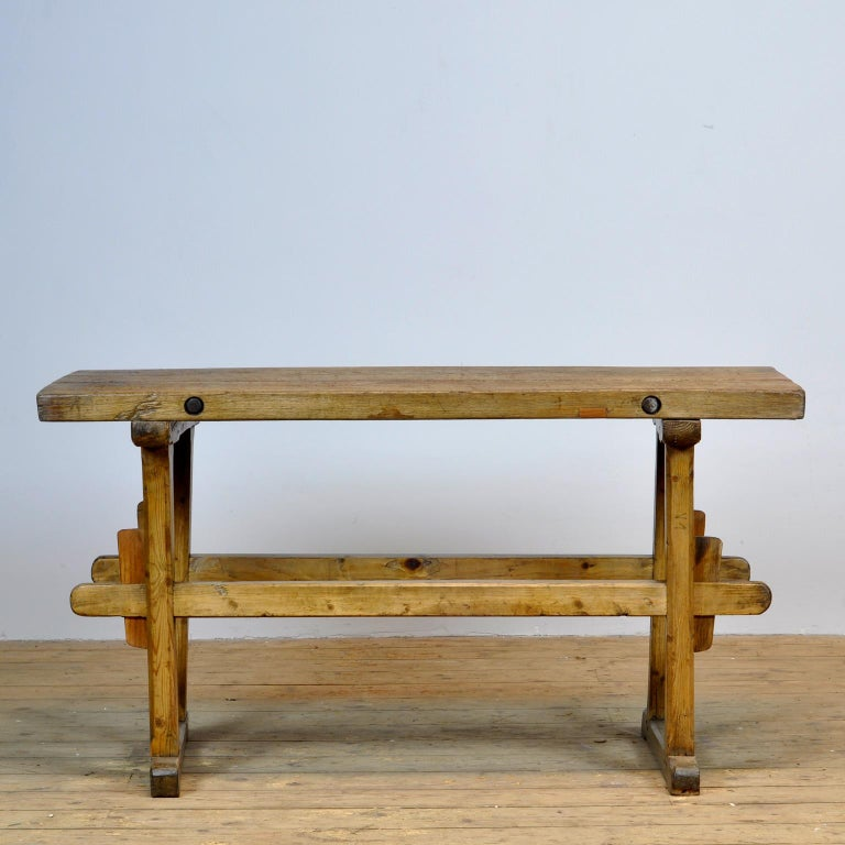 Oak farmers worktable with a nice distressed top of 6 cm thick. The top is strengthened with 2 iron bars.