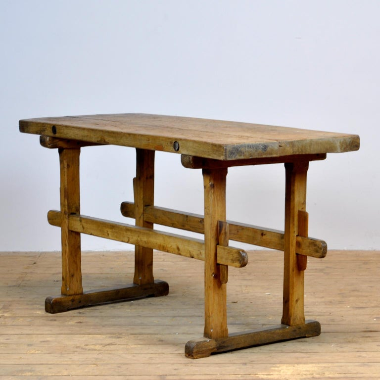Industrial Oak Farmers Worktable, 1930s For Sale