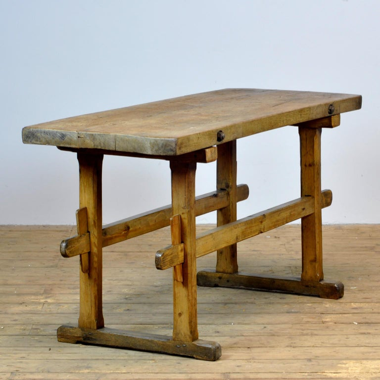 Hungarian Oak Farmers Worktable, 1930s For Sale