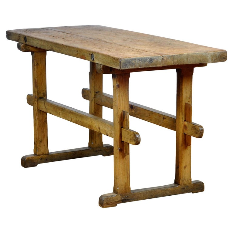 Oak Farmers Worktable, 1930s For Sale