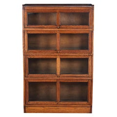 Oak Four Section Lawyer's Barrister's Bookcase