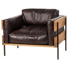 Oak Frame Leather Armchair