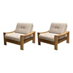 Oak Frame Pair Upholstered Side Chairs, Style Pierre Chapo, France, Midcentury