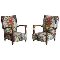 Oak Framed Lounge Chairs