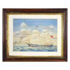 Oak Framed Watercolor of the Mary Brack