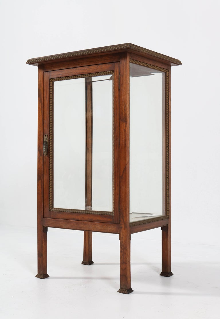 Mid-20th Century Oak French Art Deco Display Cabinet with Beveled Glass, 1930s For Sale
