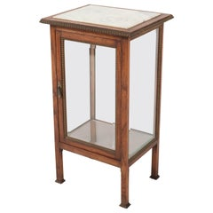 Oak French Art Deco Display Cabinet with Beveled Glass, 1930s