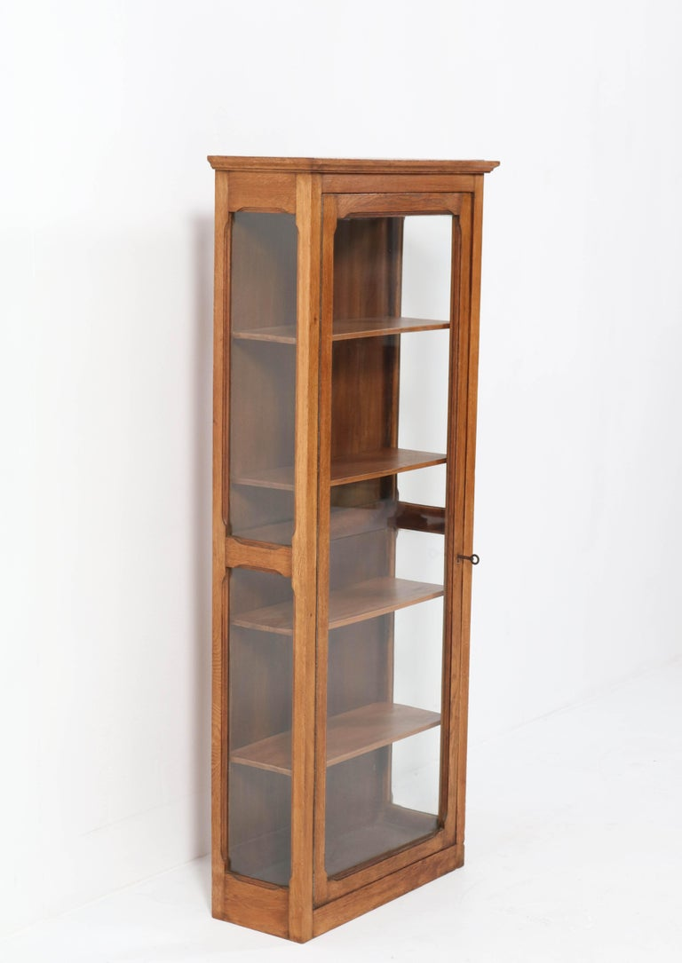 Oak French Art Nouveau Wall Display Cabinet, 1900s In Good Condition For Sale In Amsterdam, NL