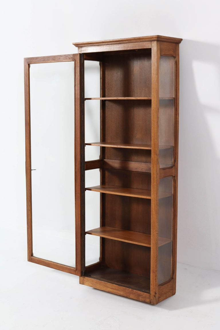 Glass Oak French Art Nouveau Wall Display Cabinet, 1900s For Sale