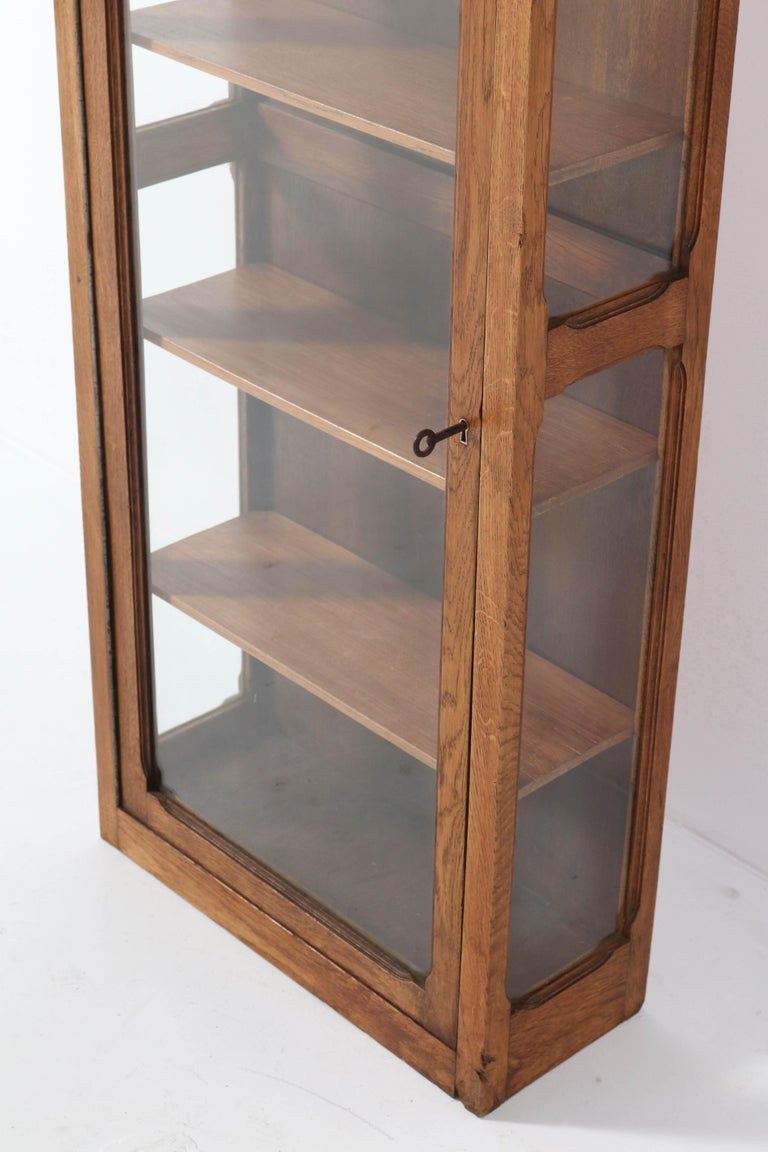 Oak French Art Nouveau Wall Display Cabinet, 1900s For Sale 1
