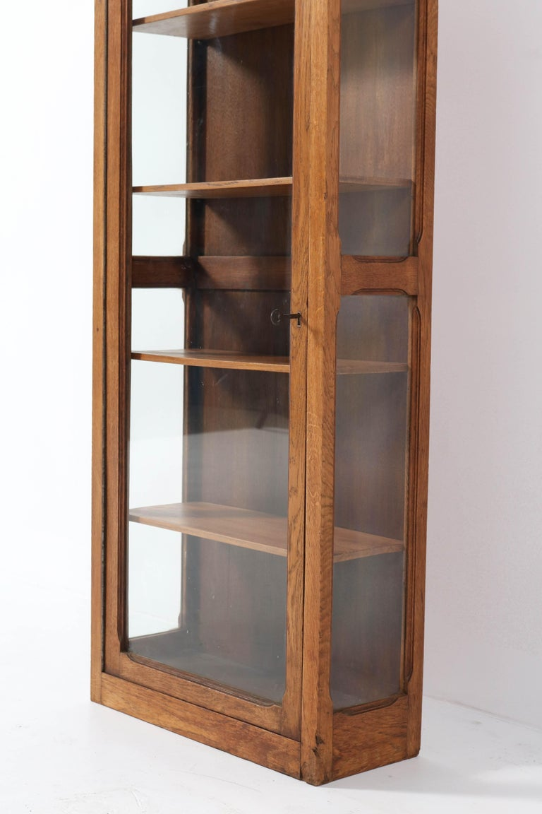 Oak French Art Nouveau Wall Display Cabinet, 1900s For Sale 2