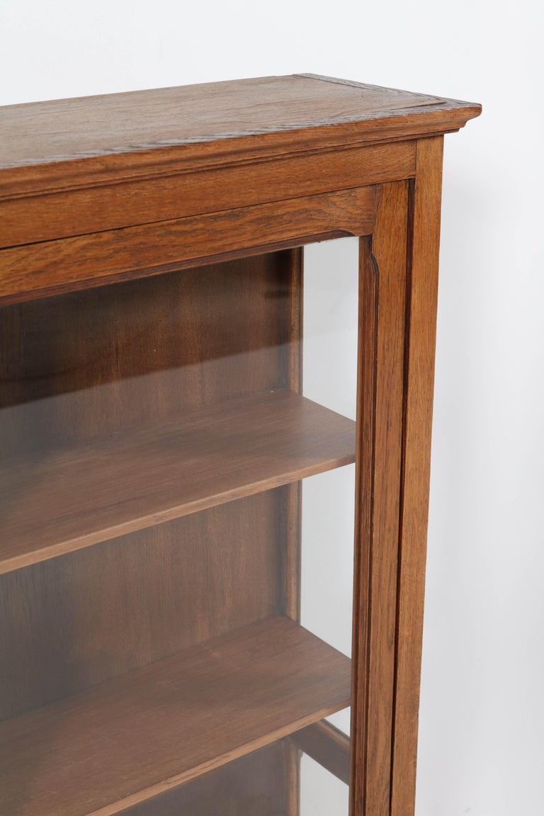 Oak French Art Nouveau Wall Display Cabinet, 1900s For Sale 3