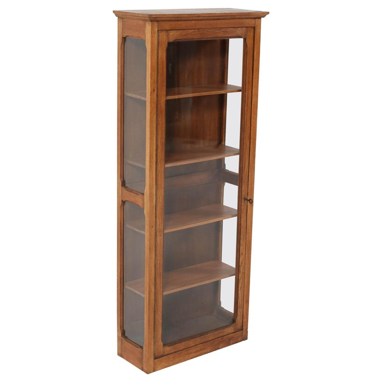 Oak French Art Nouveau Wall Display Cabinet, 1900s For Sale