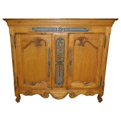 Oak French Buffet with Two Doors and Storage, 20th Century