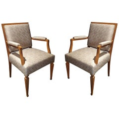 Oak French Chairs, Mid-20th Century