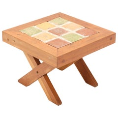 Oak French Mid-Century Modern Side Table with Tiles, 1960s