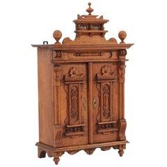 Oak German Gründerzeit Carved Wall Cabinet, 1880s