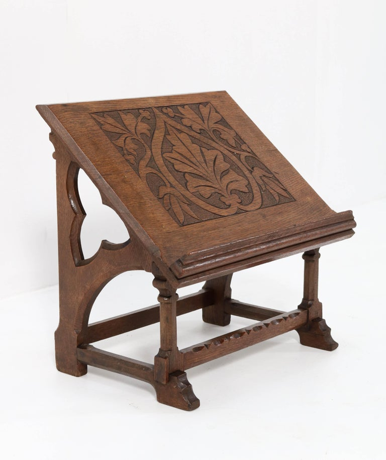 Dutch Oak Gothic Revival Lectern or Book Stand, 1900s For Sale